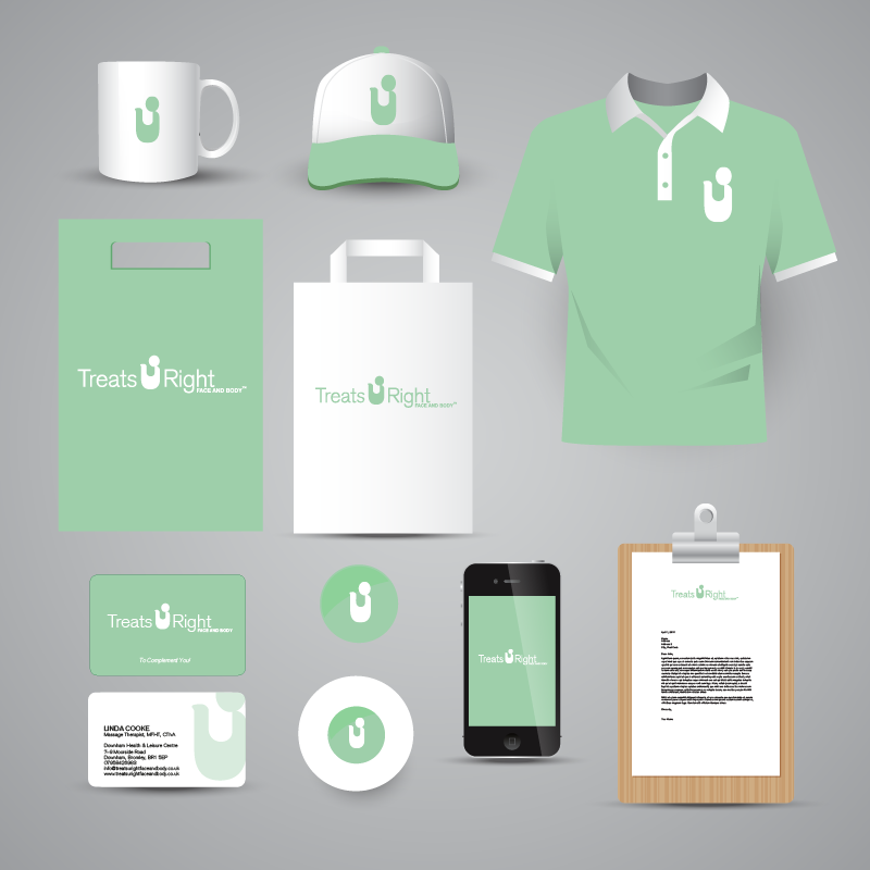 Graphic design. Mock Up. Logo. Treats U Right Face and Body. Complimentary slip. Letterhead. Business card. Hat