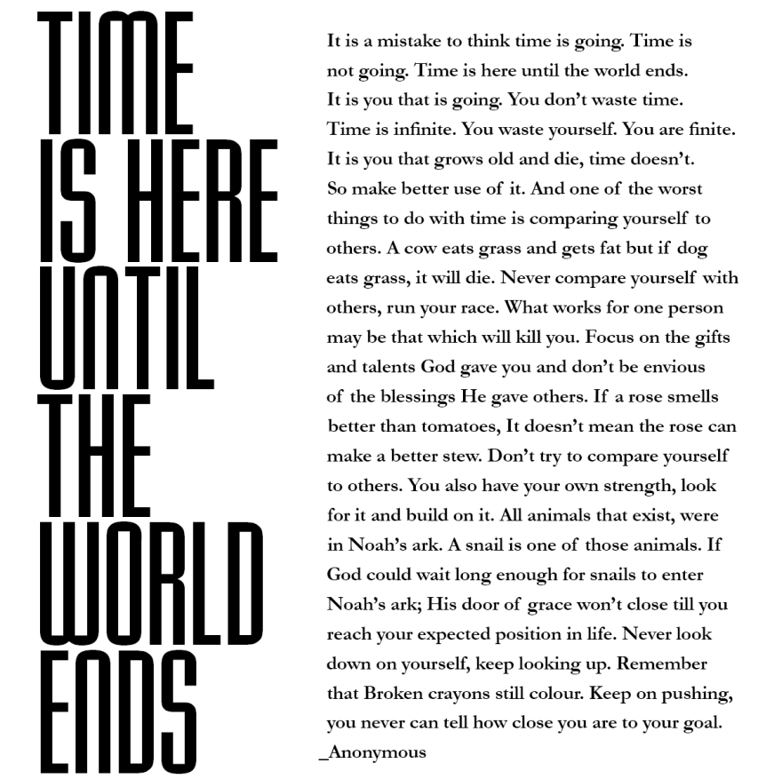 Time is here until the world ends...
